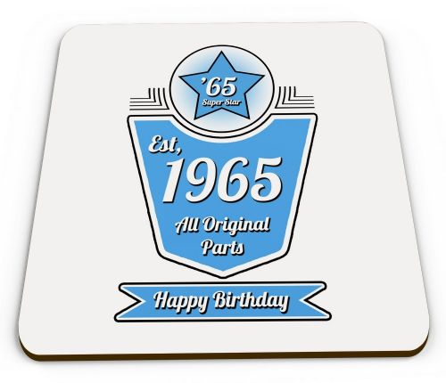 Personalised Any Year Happy Birthday All Original Parts Novelty Glossy Mug Coasters - Blue